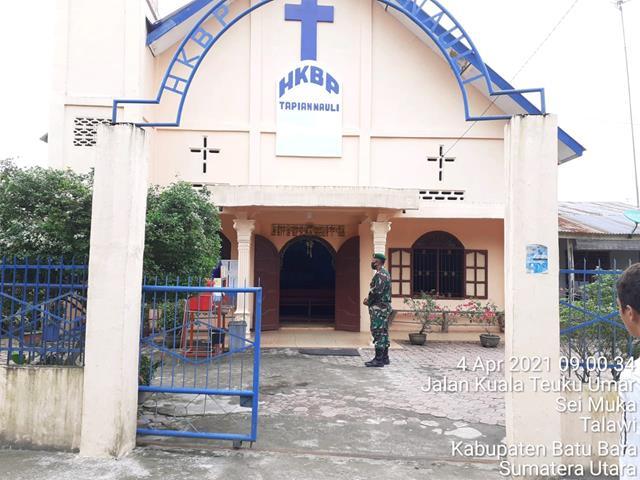 Pelaksanaan Ibadah Misa Paskah, Personel Jajaran Kodim 0208/Asahan Laksanakan Pengaman