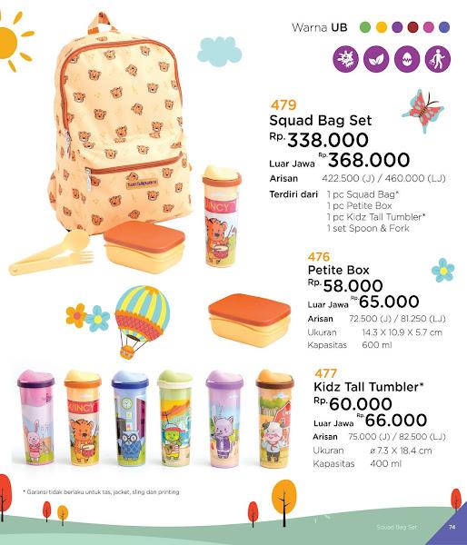 Squad Bag Set, Petite Box, Kidz Tall Tumbler, Katalog Tulipware 2019
