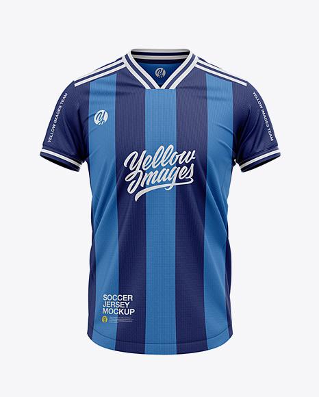 Download Men's V-Neck Soccer Jersey T-shirt Mockup - Front View ...
