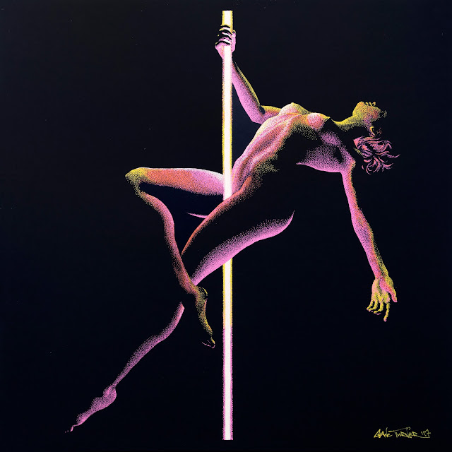 Pointillism painting of a woman doing an acrobatic pole dancing move being illuminated by the multicolored glowing pole. Image is made of thousands of coloured dots.