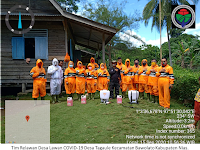 Cegah Penularan COVID-19, Relawan di Tagaule Lakukan Penyemprotan