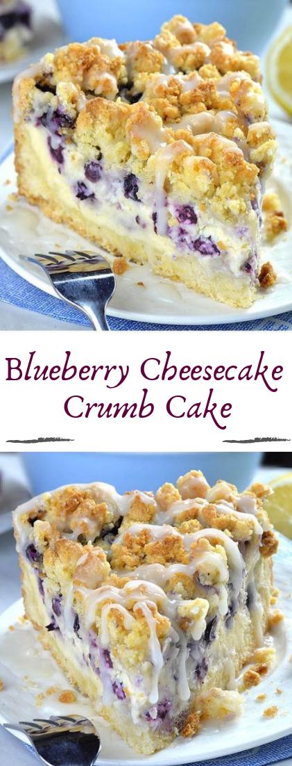 Blueberry Cheesecake Crumb Cake #desserts #cakerecipe