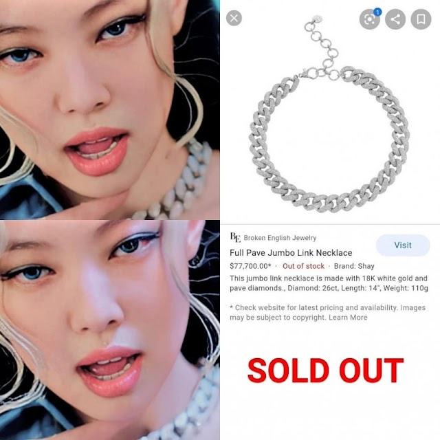 Knetz amazed at how BLACKPINK Jennie has success to make her 90million won necklace from the MV sold out!