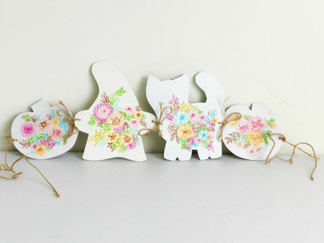 Mini Floral Halloween Garland