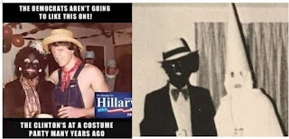 HYPOCRITE Hillary Clinton condemns VA governor Ralph ?Coon-Man? Northam for racism and infanticide, but she supports Planned Parenthood, KKK, and wore ?BlackFace? herself