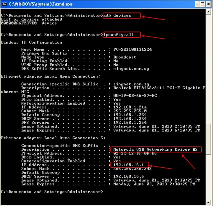 Network adapter named 'Motorola USB Networking Driver' with IP address 192.168.16.1