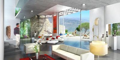 Perspective 3d villa de luxe rendu intérieur séjour