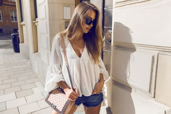 Kenza - Ruffle Bell Sleeve Top, Chanel Boy Bag, Denim Cut Off Shorts