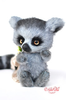 Artist teddy ooak handmade ring tailed lemur, artist lemur, teddy lemur, artist teddy bear buy, NatalKa Creations, teddies with charm, Teddy Lemur, Teddy, Teddybär kaufen, Teddy Unikat
