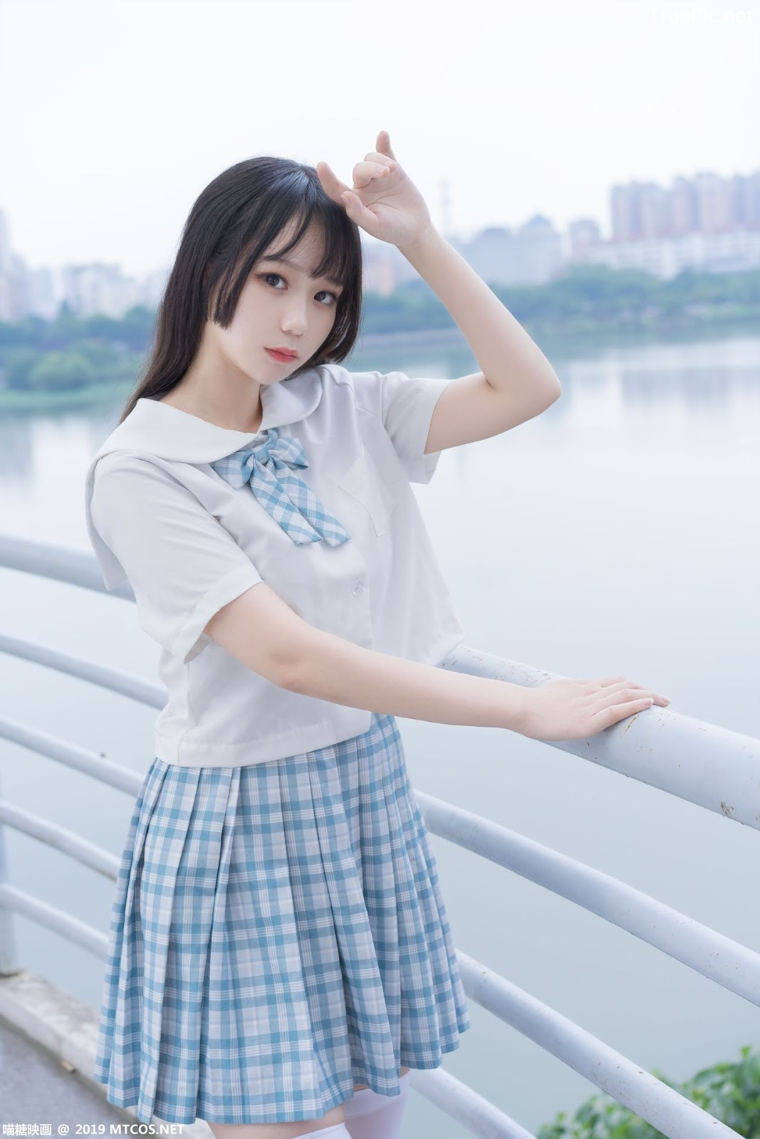 Image [MTCos] 喵糖映画 Vol.015 – Chinese Cute Model - White Shirt and Plaid Skirt - TruePic.net- Picture-10