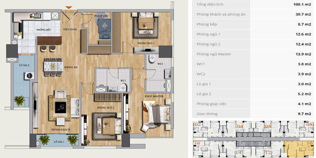 Thiết kế căn hộ B-10 chung cư Mon Central