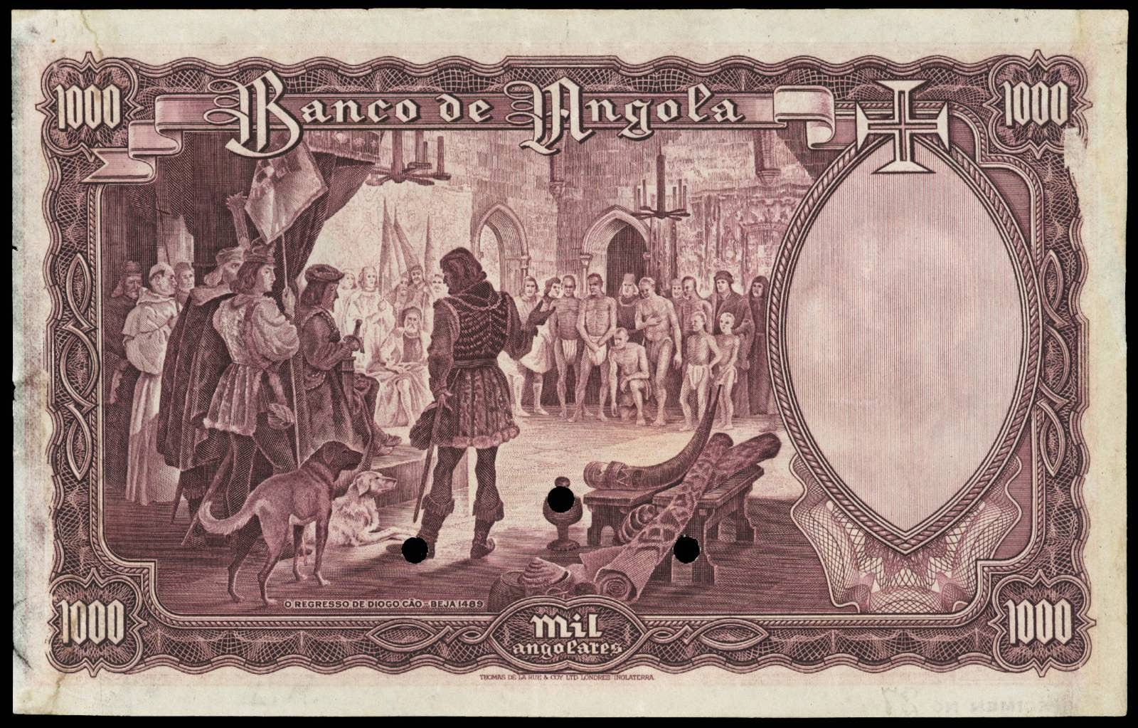 1000 Angolares banknote 1944 Diogo Cao