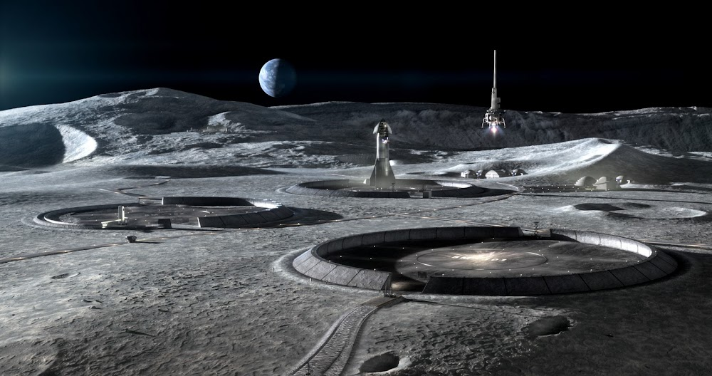 SpaceX's Starship at NASA's Artemis Base Camp spaceport by ICON & SEArch+