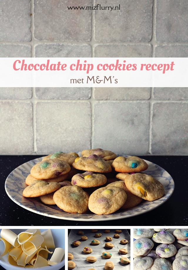 Chocolate chip cookies recept, met M&M's! Heerlijke koekjes en met makkelijk te verkrijgen ingrediënten.