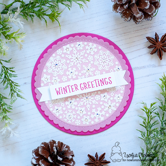 Winter Greetings! Round Snowflake Card by Zsofia Molnar | Snowfall Roundabout Stamp Set, Banner Trio Die Set, and Circle Frames Die Set by Newton's Nook Designs #newtonsnook #handmade