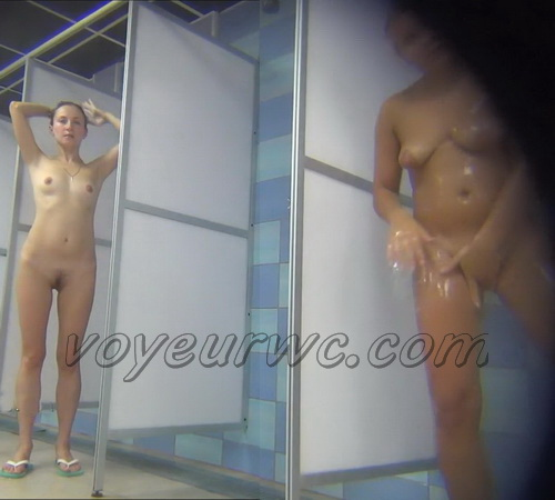 A hidden camera in a public shower films gorgeous women while they soap up their bodies (Hidden Camera Public Shower 242-251)