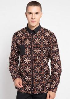 Baju Batik Pria Lengan Panjang Warna Coklat