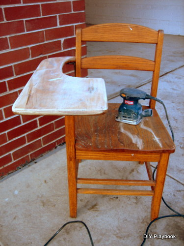 Sanding an old school desk