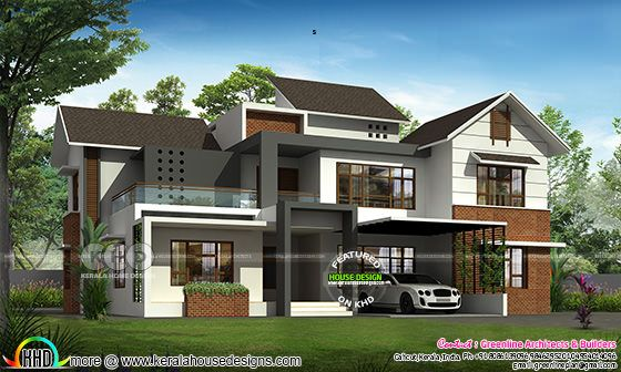 Modern sloped roof 4 bedroom house architecture