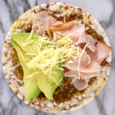 Real Foods Sorghum Thins with Wholegrain Mustard Ham Cheese and Avocado - Healthy Rice Cake Topping Ideas Recipes