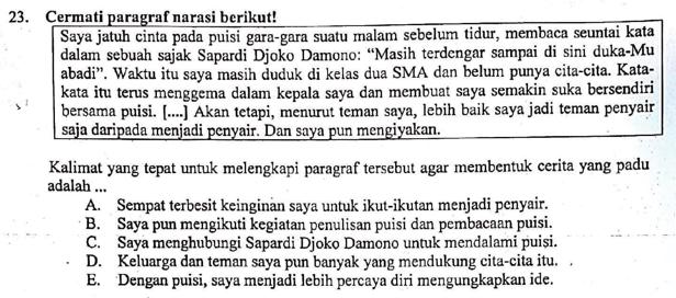 Contoh Soal Melengkapi Paragraf Narasi Dan Pembahasan Soal Un Tahun 2019 Nomor 23 Zuhri Indonesia