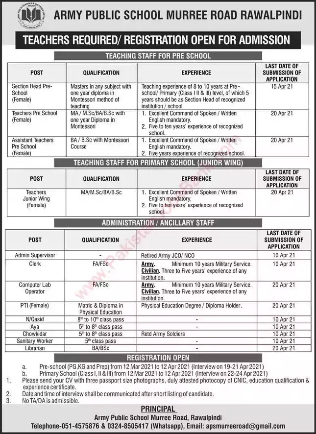 New Jobs in Pakistan Army Public School Rawalpindi Jobs 2021