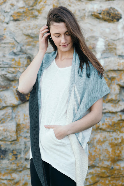 Quince & co Shimmering Sea Shawl knitting pattern by Katrine Birkenwasser in Piper