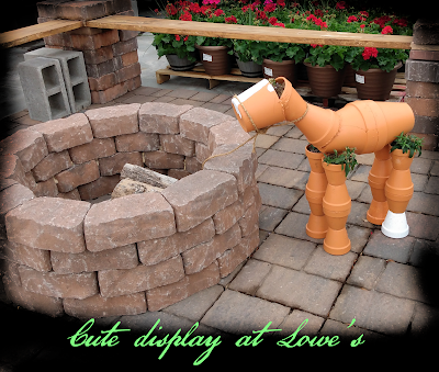 terra cotta horse from gardening pots at lowe's home improvement center