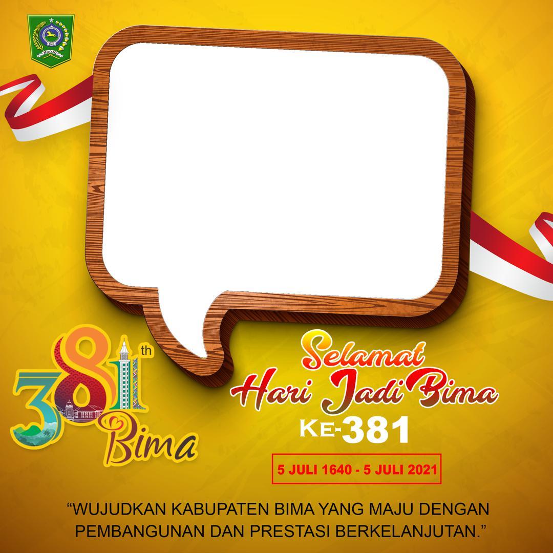 Desain Frame Bingkai Foto Twibbon Hari Ulang Tahun (HUT) Kabupaten Bima ke-381 Tahun 2021 - Twibbonize