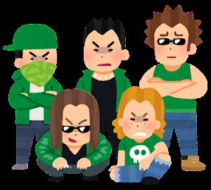 不良集団のイラスト(緑)