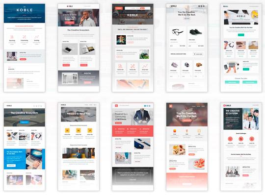 Koble: Set para email de negocios, con 28 plantillas y 200 módulos para añadir