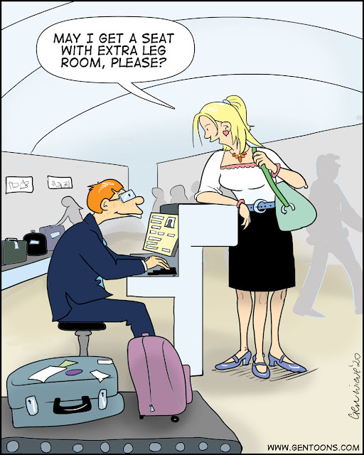 """Airport check-in counter: a woman customer stands at a check-in counter speaking to a male airline employee who is sitting behind the desk, working on his computer.  she says, """"May i get a seat with extra leg room, please.""""  then you notice that she has 3 legs."""