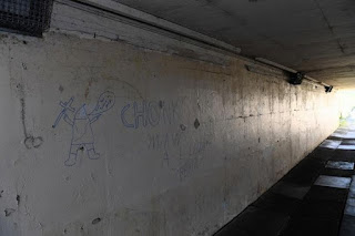 Locals were outraged at the graffiti daubed on the underpass by mindless vandals (Image: EKN)