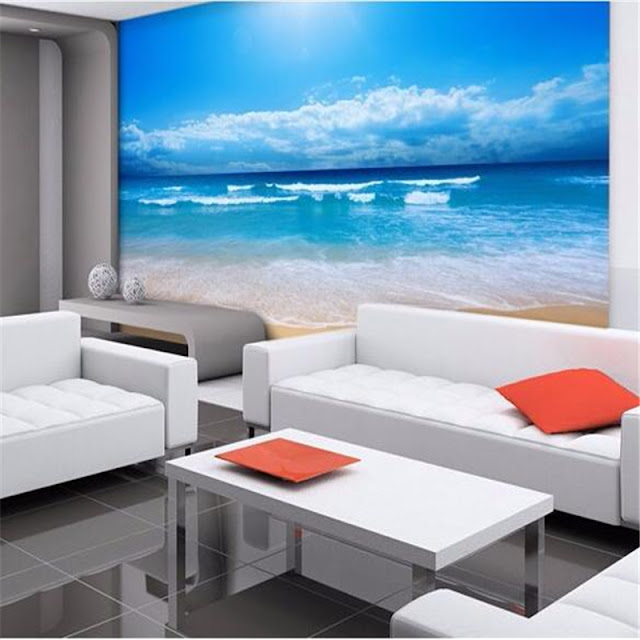 beach wall mural ocean waves window wallpaper tropical mural nature landscape wallpaper beautiful beach 3D photo mural for bedroom living room clouds