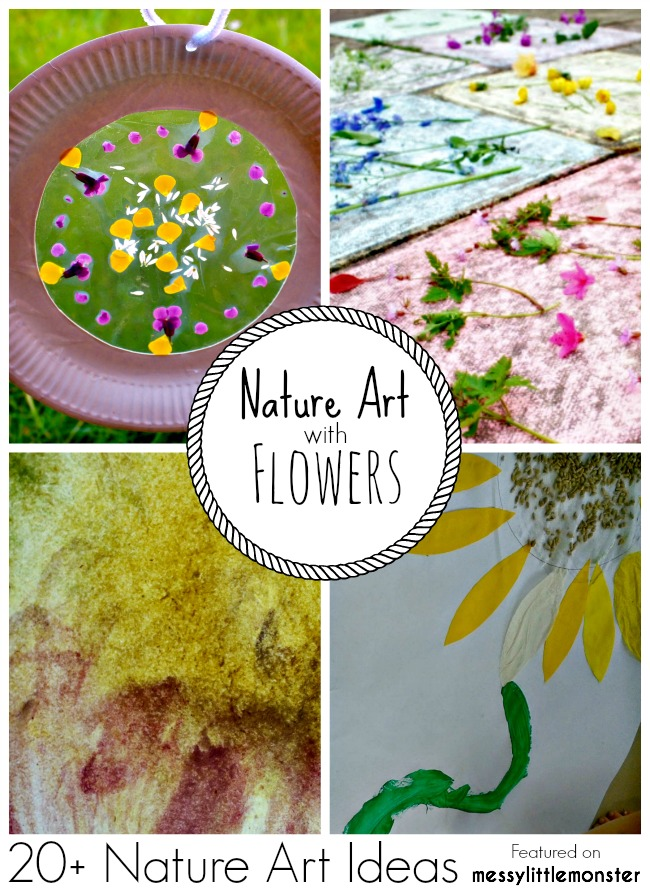 Summer Nature Art and Craft Ideas for kids using flowers. 20 fun outdoor activity ideas using nature for toddlers, preschoolers and older kids to enjoy.