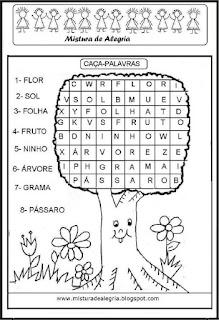 Caça palavras dia da árvore