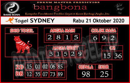 Prediksi Bangbona Sydney Rabu 21 Oktober 2020