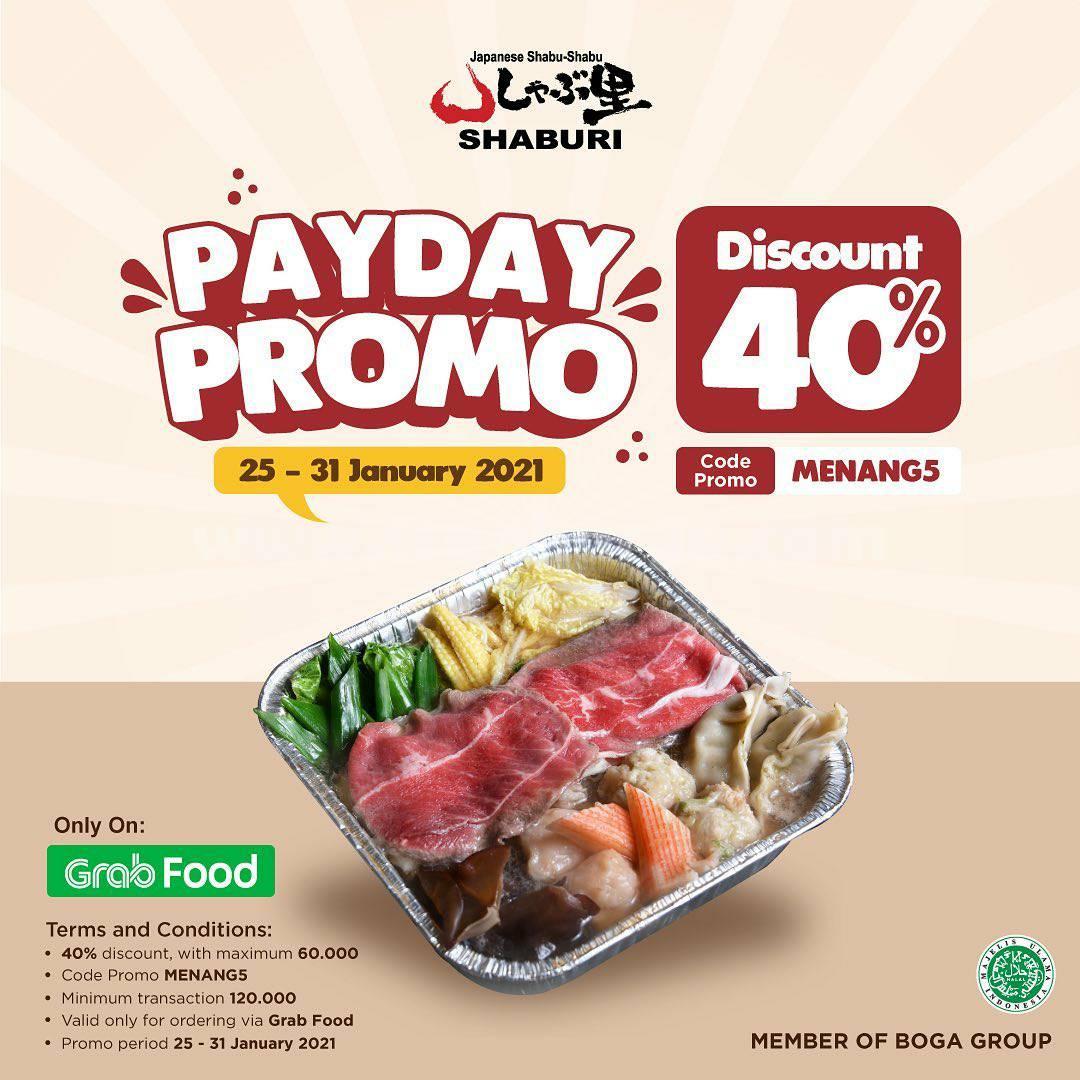 SHABURI Spesial Promo PAYDAY GRABFOOD – Diskon 40%