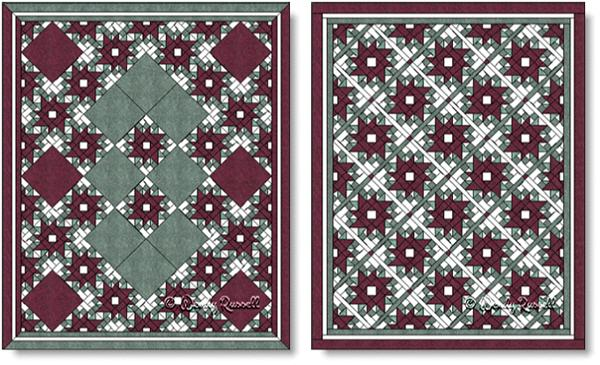 Quilts designed using the Peony and Forget Me Not quilt block - images © Wendy Russell