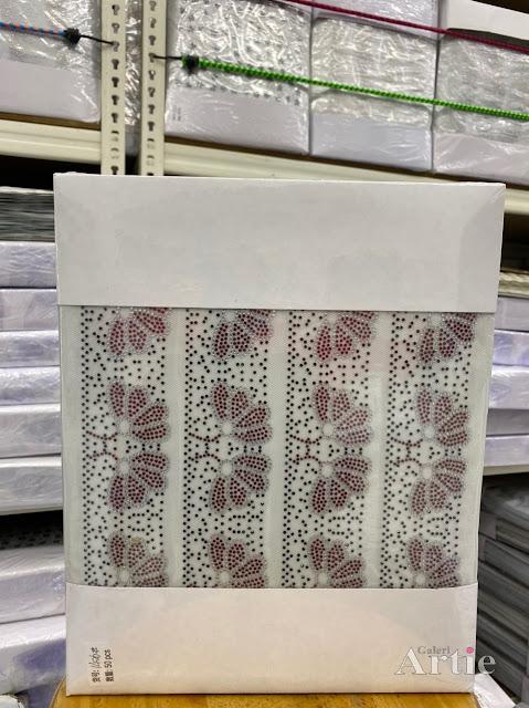 Pelekat hotfix sticker rhinestone DMC aplikasi tudung bawal fabrik pakaian motif bunga kipas