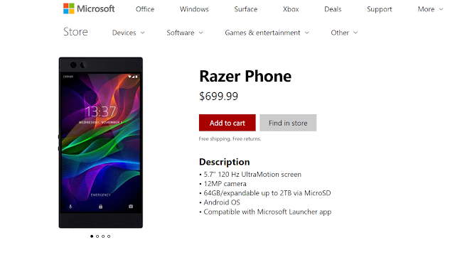 Razer Phone is available on Microsoft Online Store