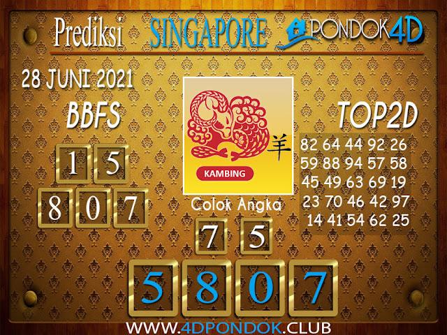 Prediksi Togel SINGAPORE PONDOK4D 28 JUNI 2021
