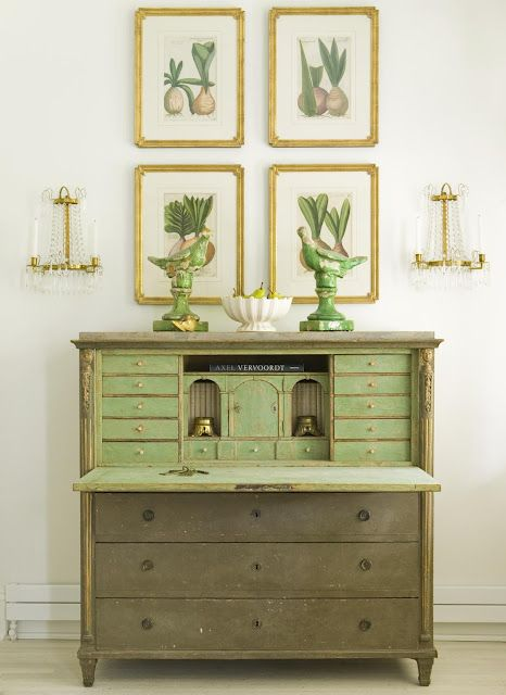 botanicals green and cream over green secretary striking vignette antiques vintage style