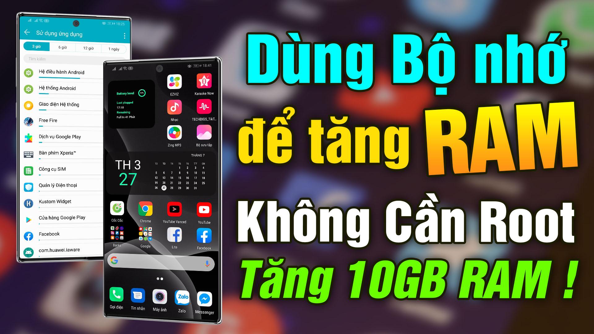 Cách tăng 10Gb Ram ảo cho android chạy mượt hơn 10 lần không cần Root