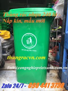 thủng rác nhựa 240 lít xanh
