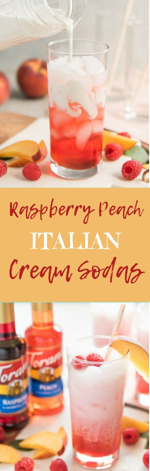 Raspberry Peach Italian Cream Sodas #drinks #deliciousrecipe