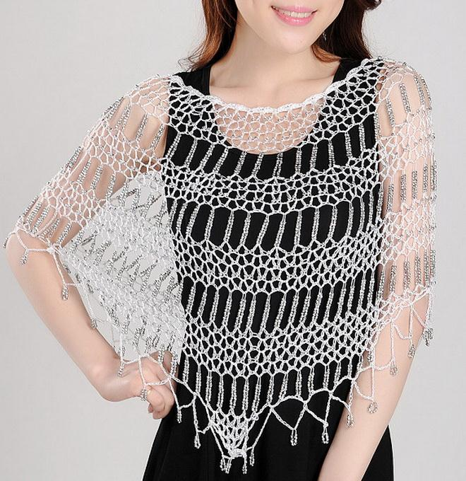crochet poncho with beads, easy pattern, for women in summer