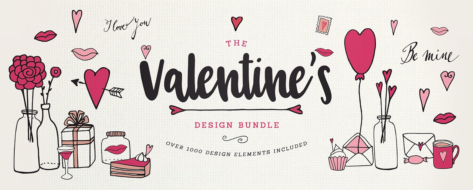 Valentines Design Bundle.Valentines day card freebie, free download.