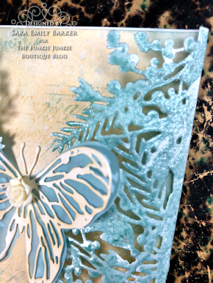 Sizzix Olivia Rose Foliage Wrap Tim Holtz Scribbly Butterfly Wrapped Card for The Funkie Junkie Boutique by Sara Emily Barker 4