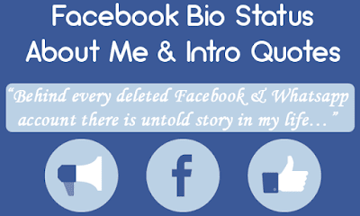 Most inspiring Facebook profile quotes for your cool Facebook bio. You can find things like short posts about this site, facebook profile quotes, funny and creative facebook bio status and awesome intro quotes for making unique profile & get best bio idea, intro. Facebook Bio Status, About Me & Intro Quotes – Short Bio, Funny & Clever